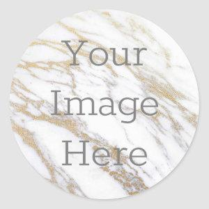 Create Your Own Metallic White & Gold Faux Marble Classic Round Sticker