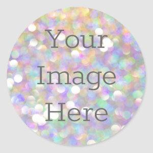 Create Your Own Out of focus Abstract Opal Glitter Classic Round Sticker