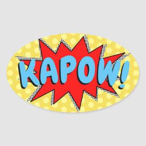 Create Your Own Superhero Onomatopoeias! POW! Oval Sticker