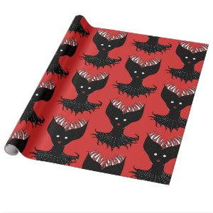 Creepy Demon Girl Dark Gothic Character With Teeth Wrapping Paper