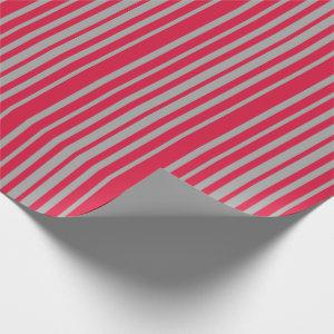 Crimson & Dark Gray Colored Lined Pattern Wrapping Paper