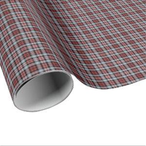 Crimson, Gray and Black Sporty Plaid Wrapping Paper