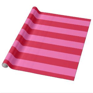 Crimson Red, Hot Pink #2 XL Preppy Stripe 1X Wrapping Paper