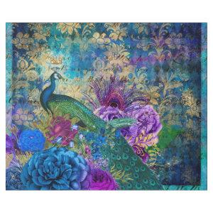 Crowned Peacock on Blue Purple Floral Wrapping Paper