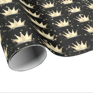 Crowns Glitter Black Sparkly Gold Champaigne Wrapping Paper