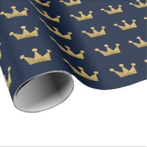 Crowns Glitter Gold Graduation Lux Blue Navy Wrapping Paper