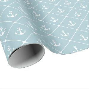 Cruise Wedding Nautical Anchor Rope Pattern Wrapping Paper
