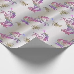 Crystal Rainbow Unicorns Wrapping Paper