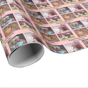 Custom 4 photo instagram family party DIY pink Wrapping Paper