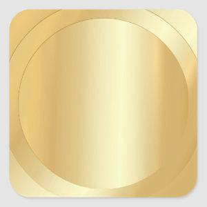 Custom Blank Template Faux Gold Add Your Text Square Sticker