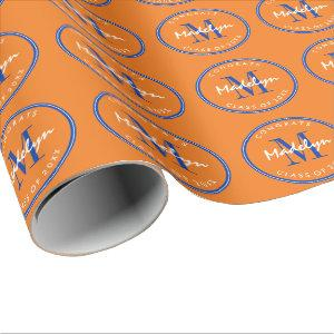 Custom Blue and Orange Graduation Wrapping Paper