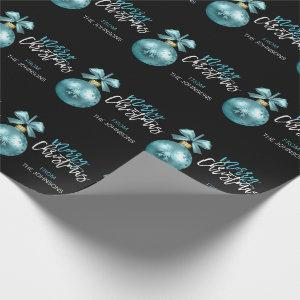 Custom Christmas Turquoise Blue Black Ornament Wrapping Paper