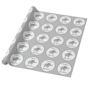 Custom Gray Elephant Baby Shower Wrapping Paper