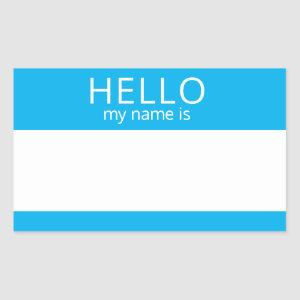 Custom HELLO My Name Is Sticker Badge Blank