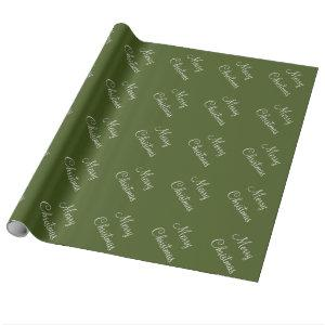 Custom Merry Christmas Moss Green Background Wrapping Paper