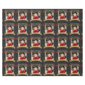Custom Merry Christmas Photo Black Wrapping Paper