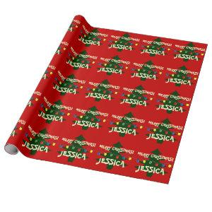 Custom Merry Christmas tree lights wrapping paper
