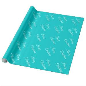 Custom Merry Christmas Turquoise Blue Background Wrapping Paper