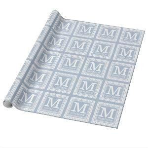 Custom monogram, name & color wrapping paper