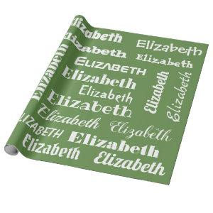 Custom Name Initial Monogram Green White Gift Wrapping Paper