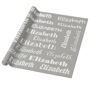 Custom Name Initial Monogram Grey White Gift Wrapping Paper