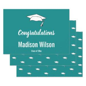 Custom Name on Teal Graduation Congratulations Wrapping Paper Sheets