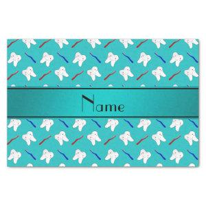 Custom name turquoise brushes and tooth pattern tissue paper