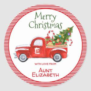 Custom Name Vintage Red Truck Christmas Holiday Classic Round Sticker