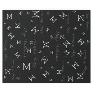 custom name with initials - black wrapping paper