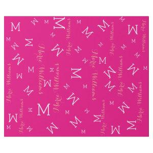 custom name with initials - hot pink wrapping paper