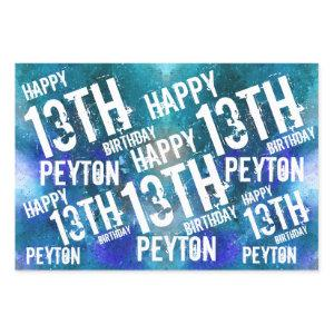 Custom Personalized Galaxy Blue Birthday Party Wrapping Paper Sheets