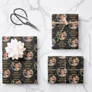Custom Photo Christmas Gift Wrap Black Gold
