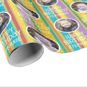 Custom Photo Whimsical & Colorful Birthday Stripes Wrapping Paper