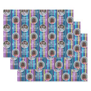 Custom Photo Whimsical & Colorful Birthday Stripes Wrapping Paper Sheets