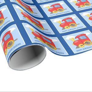 Custom Red and Blue Train Kids Birthday Wrapping Paper