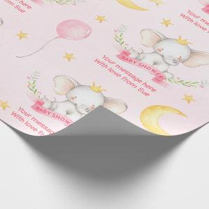 Custom Text Pink Watercolor Elephant Baby Shower Wrapping Paper