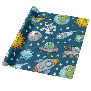Customizable Space Theme Wrapping Paper