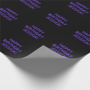 Customizable Text Happy Birthday to Any Name Wrapping Paper