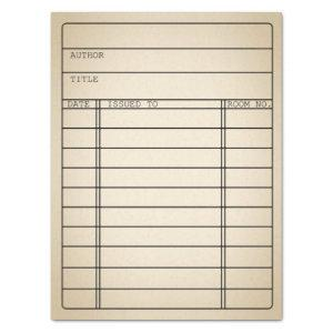 Customizable Vintage Library Book Card Tissue Wrap Tissue Paper