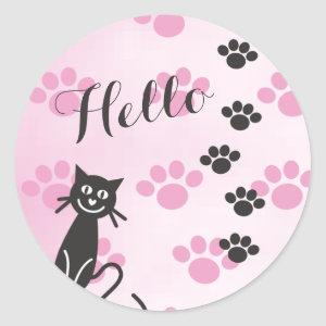 Customize Text Cat © Pink Black Paw Prints Classic Round Sticker