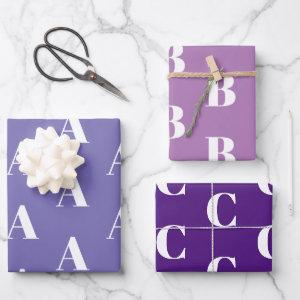 Customize w/Initial monogram Letter purple shades Wrapping Paper Sheets