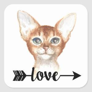 Cute Abyssinian Cat Mom Kitten Kitty Love Hello Square Sticker