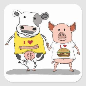 Cute and Funny Cow and Pig Friends Square Sticker
