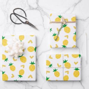 Cute and Funny Pineapple Pattern Wrapping Paper Sheets