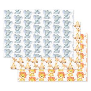 Cute Animals Safari Jungle Elephant Giraffe Lion Wrapping Paper Sheets