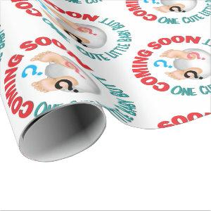 Cute Baby Diaper Butt Gender Reveal Party Wrapping Paper