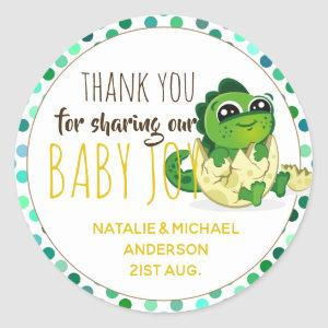 Cute Baby Dinosaur Hatchling Egg Boy Girl Shower Classic Round Sticker