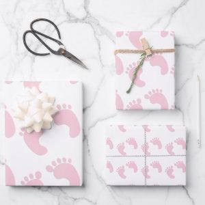 Cute Baby Footprints Pink Girl Theme Wrapping Paper Sheets