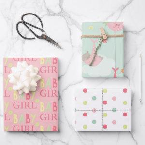 Cute Baby Girl Baby Shower Mix n Match Wrapping Paper Sheets