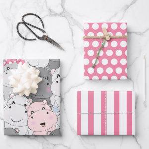 Cute Baby Hippos Wrapping Paper Set